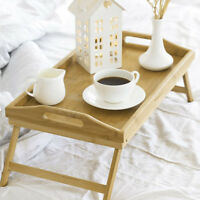 Bed Tray Bamboo Wooden With Folding Leg Serving Breakfast Lap Tray Table Mate