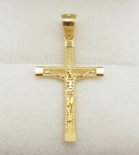 10k Yellow Gold Cross Charm Crucifix Pendant