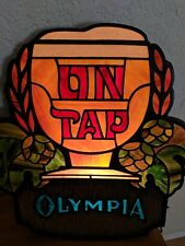 Vintage Olympia Beer On Tap Light Sign Stained Glass Like With Hops GUC