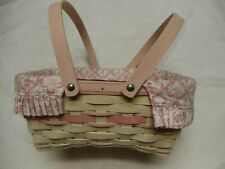 Longaberger Large 2008 Whitewashed Horizon of Hope Pink Ribbon Basket W/Liner