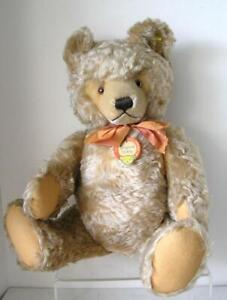 """Steiff Original Teddy Bear Gold Mohair 24"""" Large  ALL ID's 1950's RARE!"""