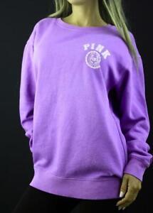 Victoria's Secret PINK Campus Crew Sweatshirt Fleece Oversize Winter Purple NWT