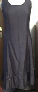 Beautiful Jacques Vert Sleeveless Dress, Size 22, Pewter Colour, Calf Length