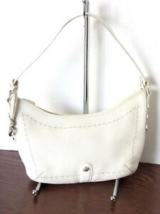 BRIGHTON Off White Pebbled Leather Hobo Shoulder Bag Purse