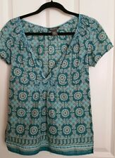 Eddie Bauer Ladies Womens Girls Top Cap Sleeve Green Lightweight Size S