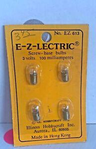 Vintage 1:12 Miniature E-Z-Lectric Dollhouse Lighting Screw Base Bulbs NIP