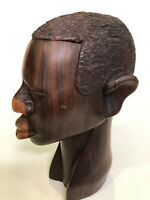 "Vintage African Hand Carved Ebony Wood Male Head Statue Bust, 9 1/2"" Tall"