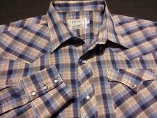 H Bar C Mens XL sz 17.5 Long Sleeve Pearl Snap Blue Plaid Check Western Shirt