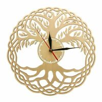 Geometry Handmade Clocks Masterpieces Rustic Wooden Tree Of Life Walls Clock New