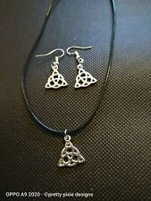 🖤Triquetra Witches Knot Earrings And Necklace Set 🖤 Wiccan Pagan Jewellery