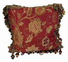 """FLORAL LEAF TAPESTRY CHENILLE RED TASSELLED 18"""" - 45CM CUSHION COVER"""