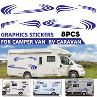 8x Stripes Graphics Stickers Decals For Motorhome Camper Van RV Caravan Blue ^