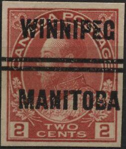 Canada (Winnipeg-3-106) 2c carmine KGV admiral style 3 Precancel (cut perfs)