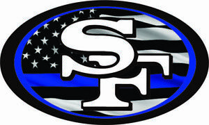 San Francisco 49ers Blue Line Mini Football Helmet Decals