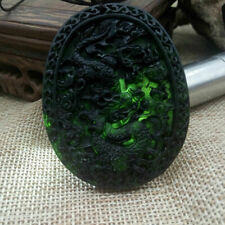 China exquisite black dark green hand-carved large longevity pendant man woman