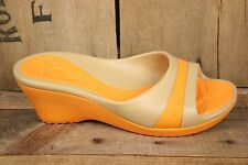 "CROCS Orange 3"" Wedge Heel Open Toe Slide Sandals Sz. 10 Women's"