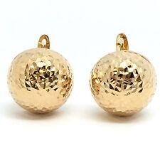 18K Yellow Gold Diamond Cut Clip Earrings 14.00 mm