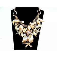 💋 Betsey Johnson Beach Pearls Shells Starfish Bib Gold Necklace 🇺🇸 US SELLER