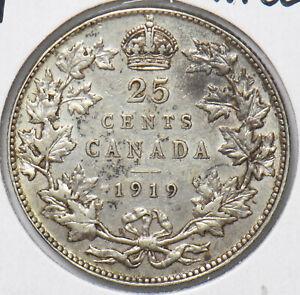 Canada 1919 Nice EF 25 Cents 490451 combine