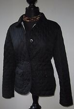 Lands End Women's Quilted Coat Jacket Black Light Weight Size M 8 10 Excellent