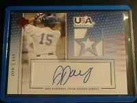 2005 UD team USA JJ-GU John Jay Rookie Autograph Game Used Jersey Auto #d /350