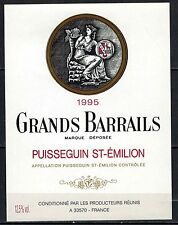 Etiquette de Vin - Grands Barrails -St. Emilion  -New-Never Stuck-Réf.n°76