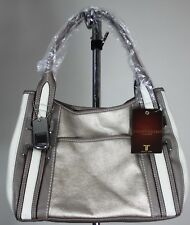Tignanello Tan/Cream Pebbled Leather Shoulder Handbag & Makeup Bag (New w/ tags)