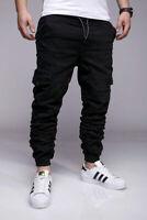 Herren Cargo Jeans Camouflage Schwarz Army Cargohose Slim Fit Stretch John Kayna