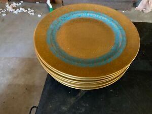 "Royal Leighton Porcelain Set of 8 10 7/8"" Service Plates Encrusted Gold"