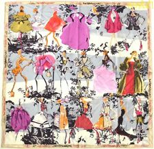CHRISTIAN LACROIX beige border COUTURE HAPPY ANNIVERSARY silk scarf NWT Authentc