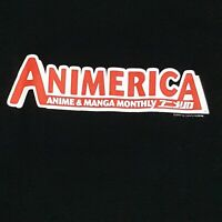 ANIMERICA T-SHIRT SIZE XL MAGAZINE MANGA ANIME STAFF OTAKU GRAPHIC BLACK TEE '02