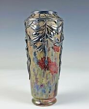 Exceptional Antique French Luster Glazed Silver Overlay Art Nouveau Vase Massier