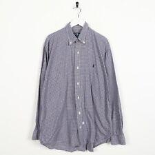 "Vintage RALPH LAUREN Small Logo Long Sleeve Check Shirt Blue | 17"""