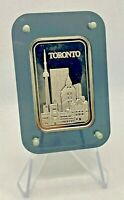 DEAK INTERNATIONAL - 1 OZ PURE SILVER BAR - TORONTO - CN TOWER - VINTAGE 1980'S