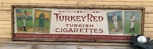6x24 Antique Style T3 Turkey Red Baseball Ad Sign Display Ty Cobb Cy Young