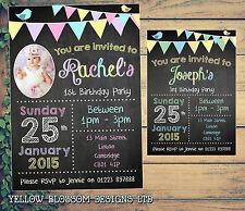 10 personalizzata festa di compleanno invito VINTAGE Bunting shabby Chic Lavagna
