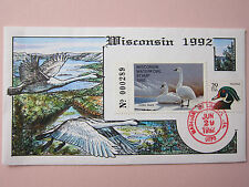 COLLINS H/P FDC 1992 WISCONSIN MILFORD DUCK - RARE