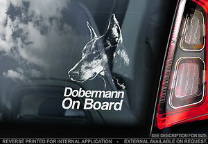 Dobermann - Dog Car Window Sticker - Doberman Pinscher -OPTION Cropped/Uncropped