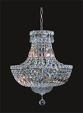 """NEW Crystal CHROME Chandelier (D16"""" x H20"""") 6 LIGHT Contemporary Ceiling Fixture"""