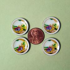 "Hansson Miniature 1:12 - 4 salad Plates w/ Yellow victoria scene 11/16"" across"