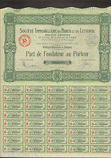 ACTION : SOCIETE IMMOBILIERE DE PARIS ET DU LITTORAL - 10 Juillet 1924