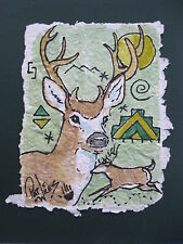 Rock Art White Tailed Deer Original Wildlife Watercolor Handmade Paper Pat Wiles