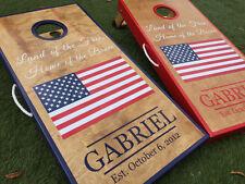 American Flag and Monogram Cornhole Boards