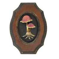Vintage Mushroom Wall Hangings Art Plaques Brass Brown Black Red Orange Decor