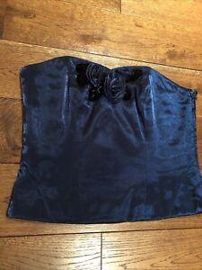 Precis Petite Bodice Corset Bustier Size 10 Navy Blue Shiny Party Cocktail