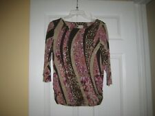 Chico's brown/ paisley/ leopard mix top 3/4 sl - size 0 size -S 4 to 6 -nwot