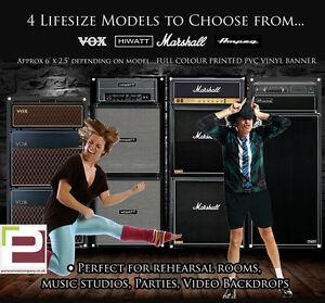 Marshall Guitar Amp FULL LIFE SIZE Banner, Backdrop, Vox, Hiwatt, Orange, Ampeg