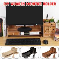 Office Home Wood Desk Organizer Storage Computer Monitor Laptop Desktop Stand