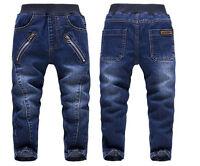 Kids Boys Fashion Long Trousers Zipper Denim Pants Casual Children Jeans Clothes
