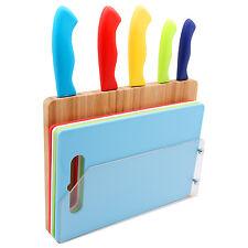 Messer Set Bunt mit 5x Messer, 4x Schneidebrett Bambus Halter Messerblock Holz V